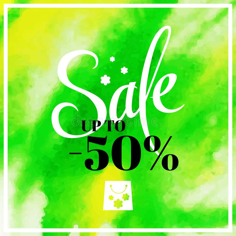 Spring sale blur background with lettering the main sale of this spring. Vector illustration watercolor  template green yello. Spring sale blur background with royalty free illustration