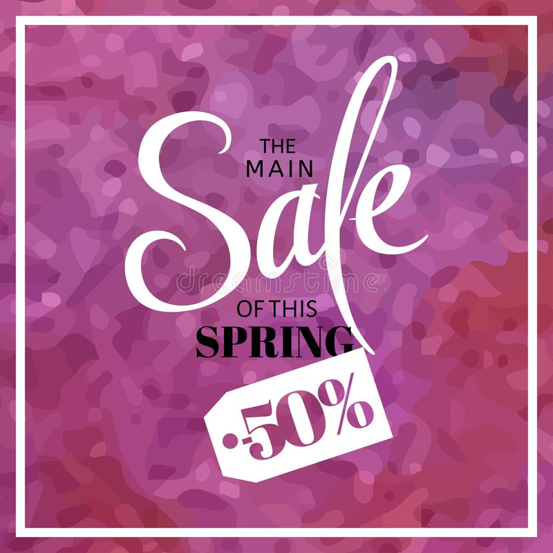 Spring sale blur background with lettering the main sale of this spring. Vector illustration watercolor template. Pink stock illustration
