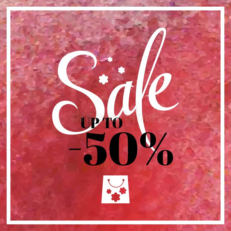 Spring sale blur background with lettering the main sale of this spring. Vector illustration watercolor  template pink. Halftones vector illustration
