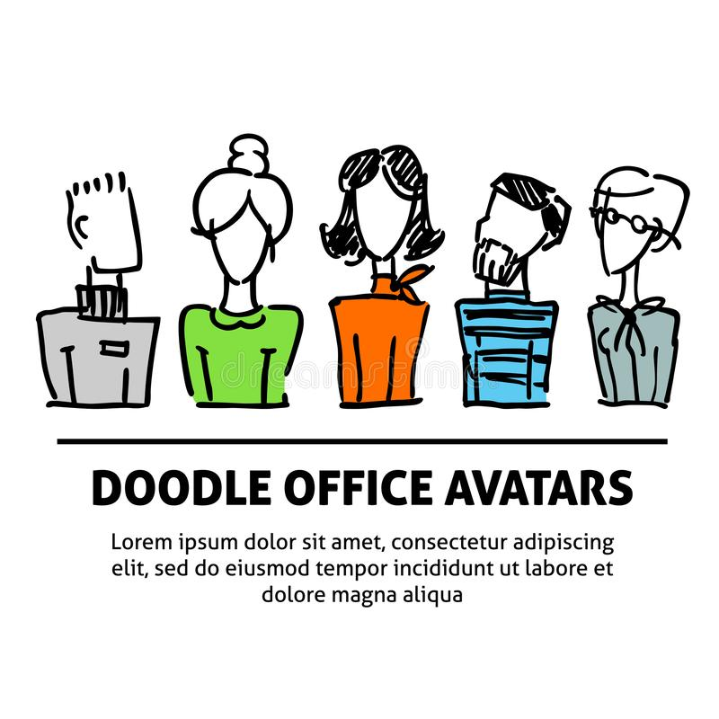 A square vector image with dooodle business avatars for presentation design and web site. Office professions freehand. Image royalty free illustration