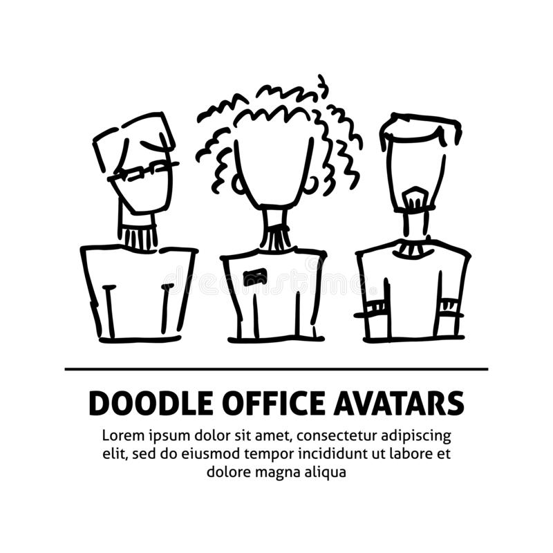 A square vector image with dooodle business avatars for presentation design and web site. Office professions freehand. Image vector illustration
