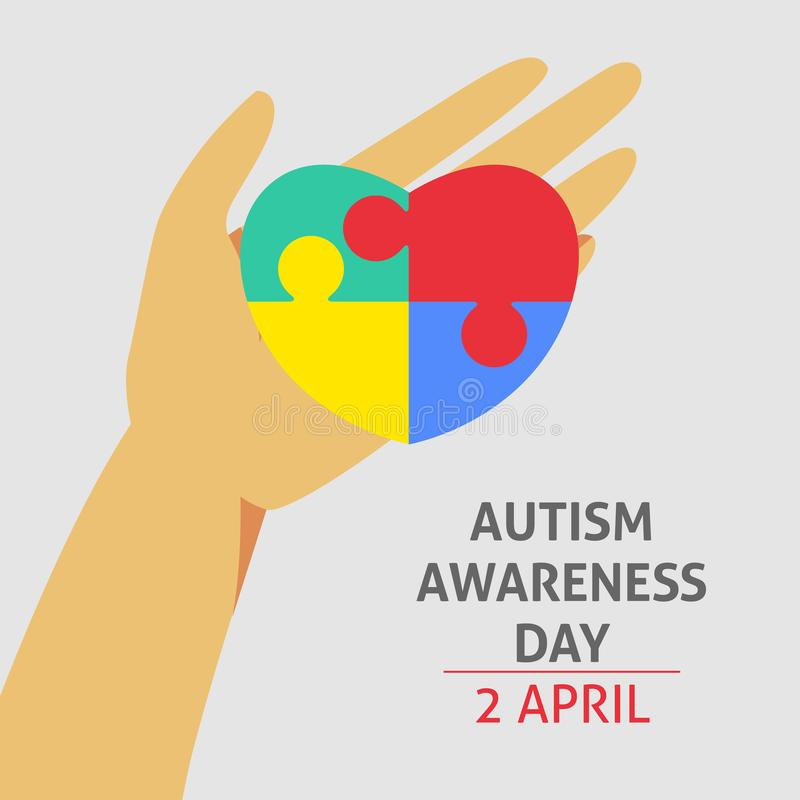 A square vector image with a puzzle heart as a symbol of autism awareness. A world autism awareness day. A template for a medicine. Flyer poster card design vector illustration