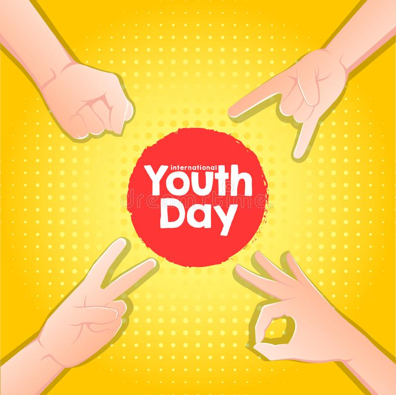 Stock vector international youth day,12 August. hands up on yellow background royalty free illustration