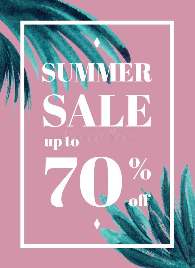 Print Summer sale up tu 70 per cent off. Web-banner or poster wi vector illustration