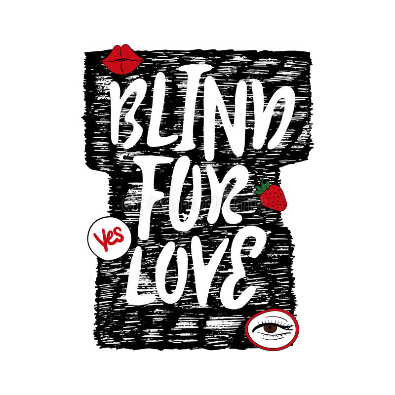 Print on T-shirt. Blind for love with patch fashion pins t-shirt, bag print stock illustration