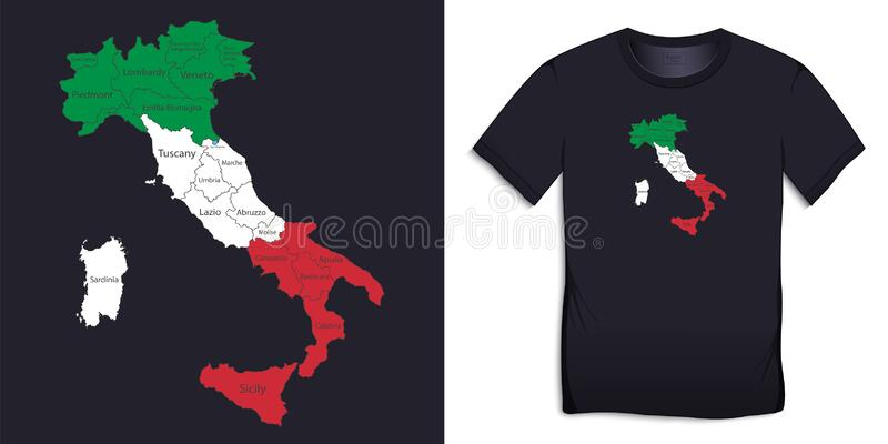 Italy New T-Shirt Country Flag Italian Top City Map