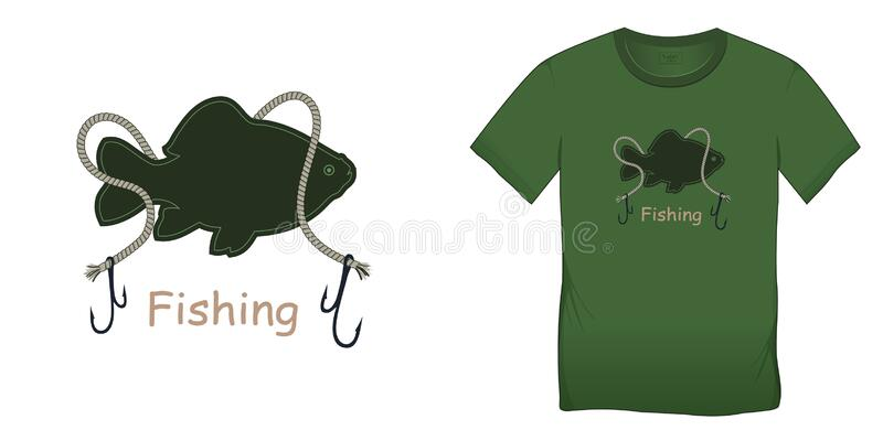 Print on t-shirt graphics design, motive green image, fish carp with rope and hooks, isolated on white background blank royalty free illustration