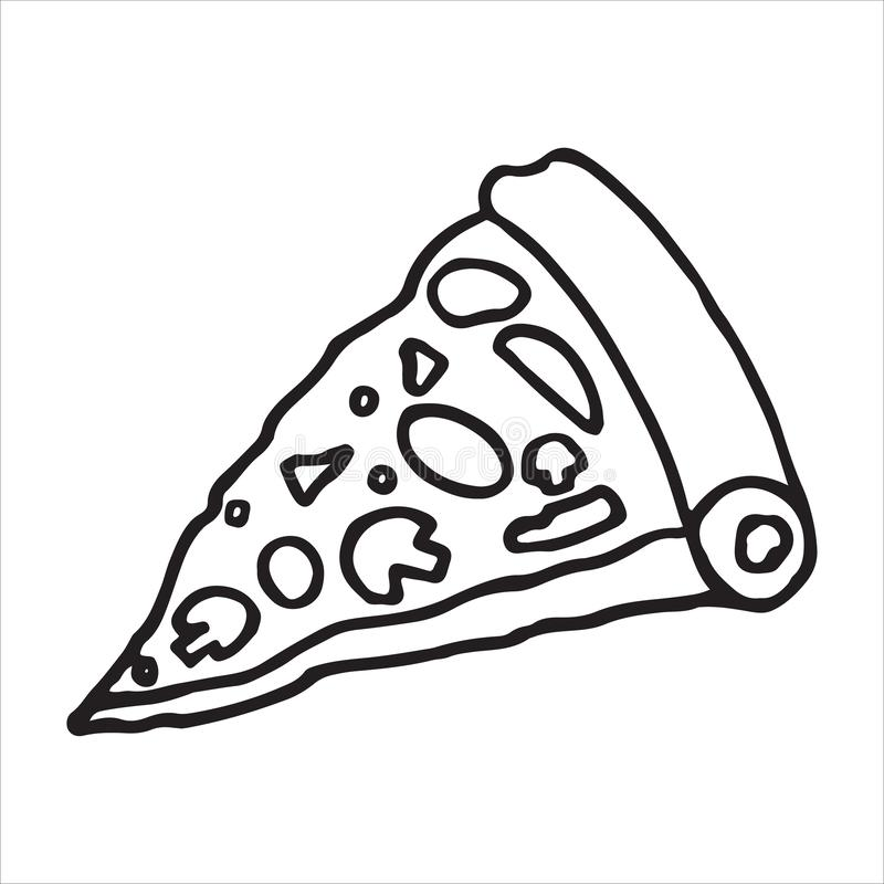 Tasty pizza slice with doodle style vector illustration