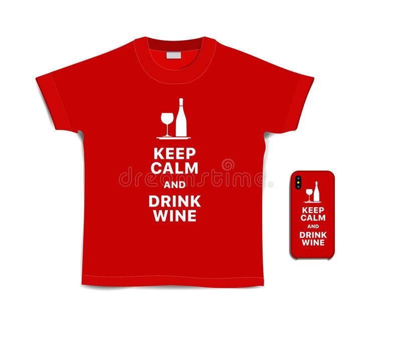 Print text on t-shirt and case for mobile phone royalty free illustration