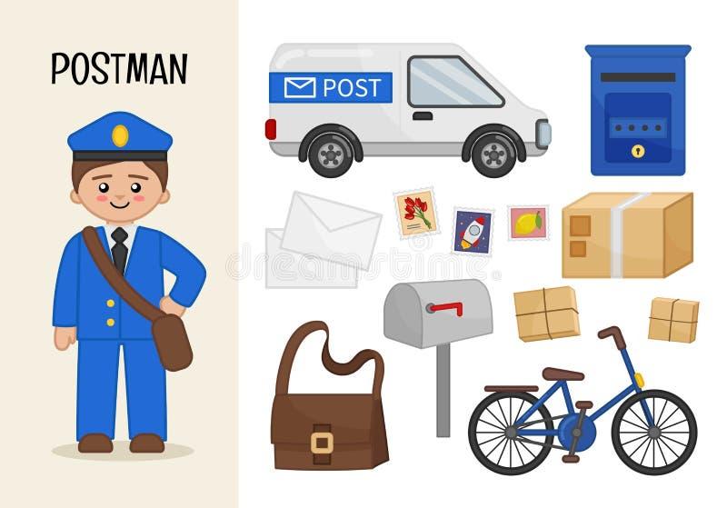 Vector character postman. royalty free illustration
