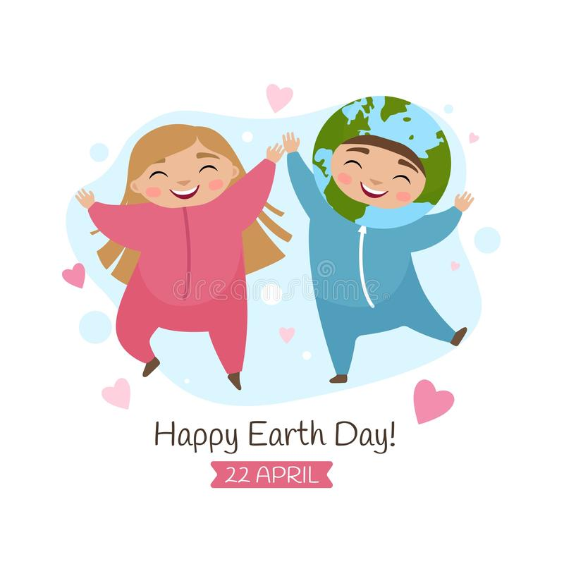 Vector poster for the Earth day. Illustration of a cute boy in Earth costume and girl in pink costume royalty free illustration
