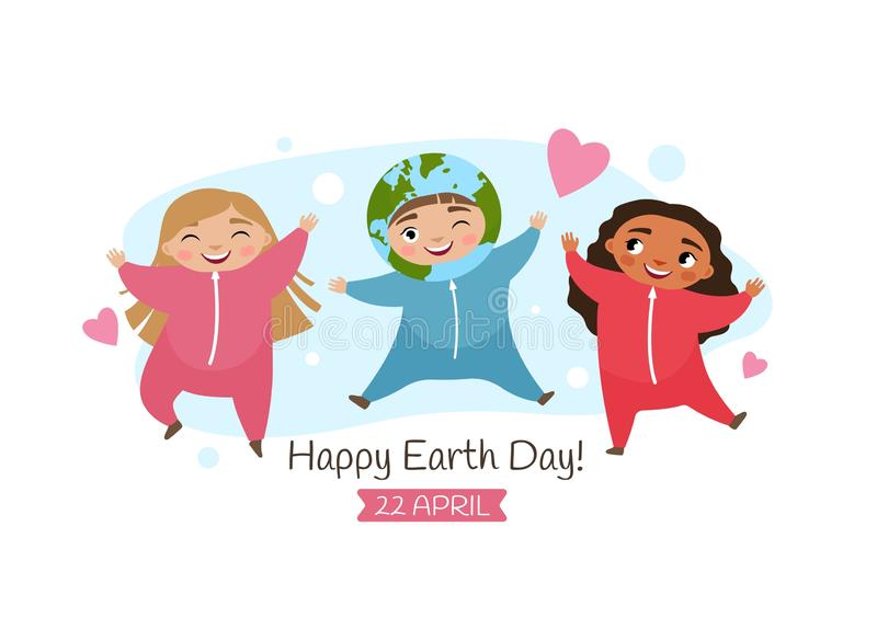 Vector poster for the Earth day. Illustration of a cute boy in Earth costume and girls in pink costume royalty free illustration
