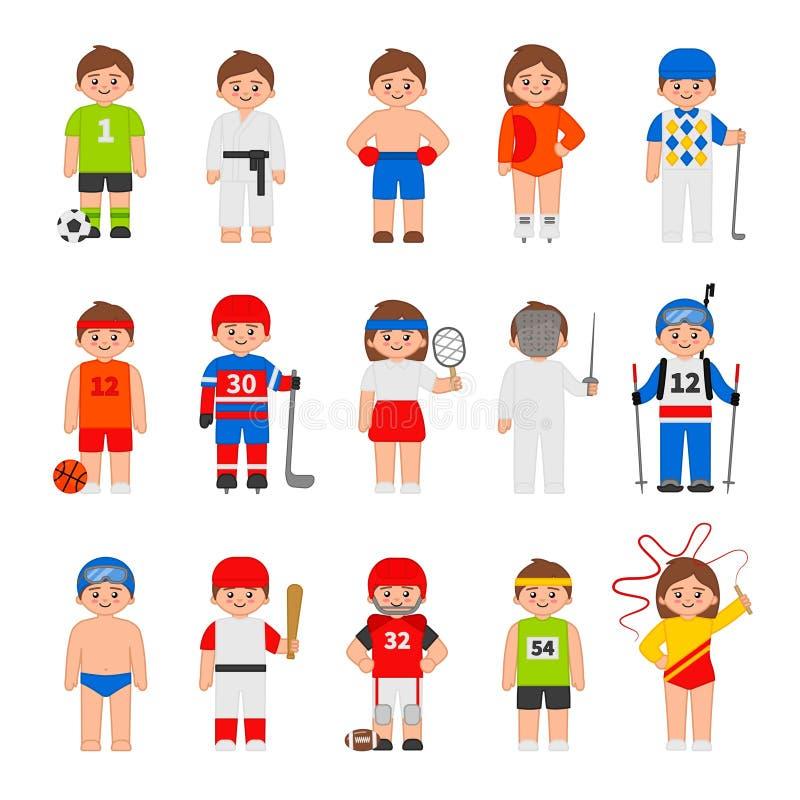 Vector set of different sportsmans vector illustration