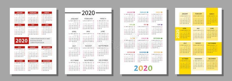 Pocket calendar 2020. vector illustration