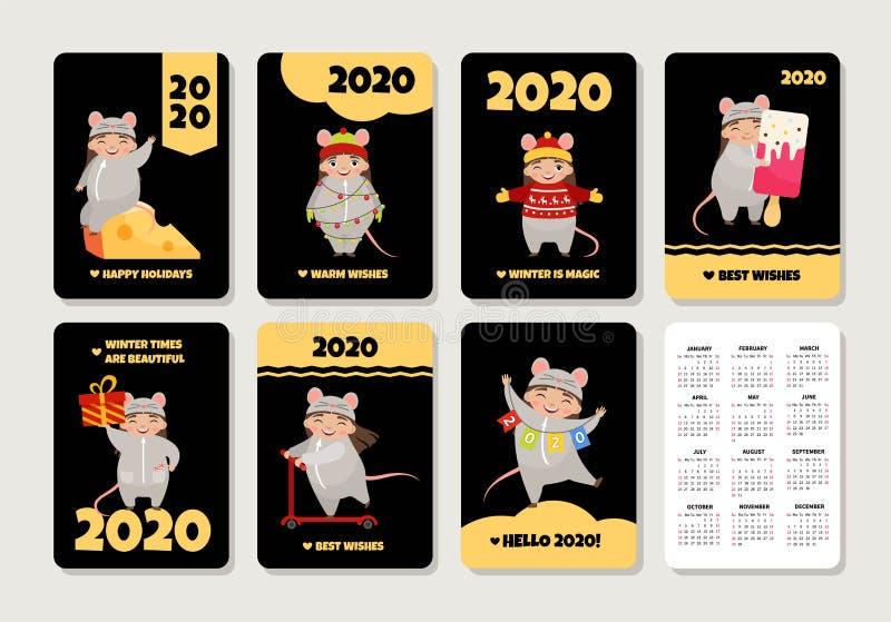 Vector set of pocket calendars royalty free illustration