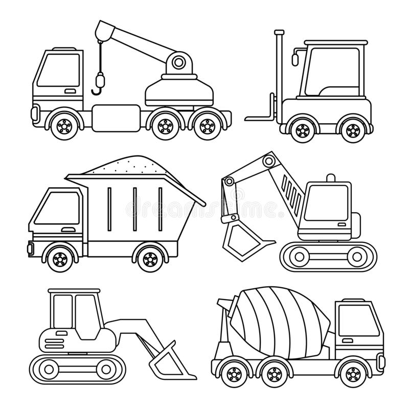 Vector set of special equipment. Coloring book for kids stock illustration