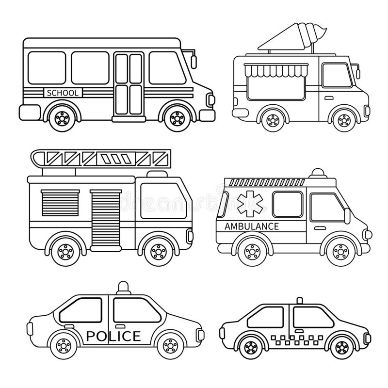 Vector set of special transport. Coloring book for kids vector illustration