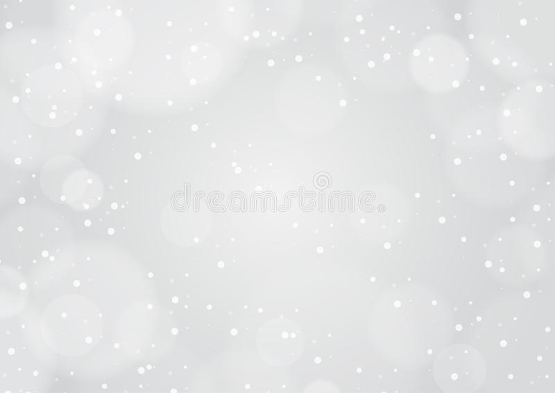 Winter bokeh light and falling snow gray background  stock illustration
