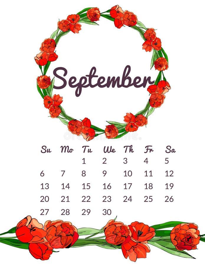 Printable ботанический календарь 2020 с венком и бесконечной щеткой красных цветков и листьев тюльпана Чернила руки вычерченные и стоковое фото rf