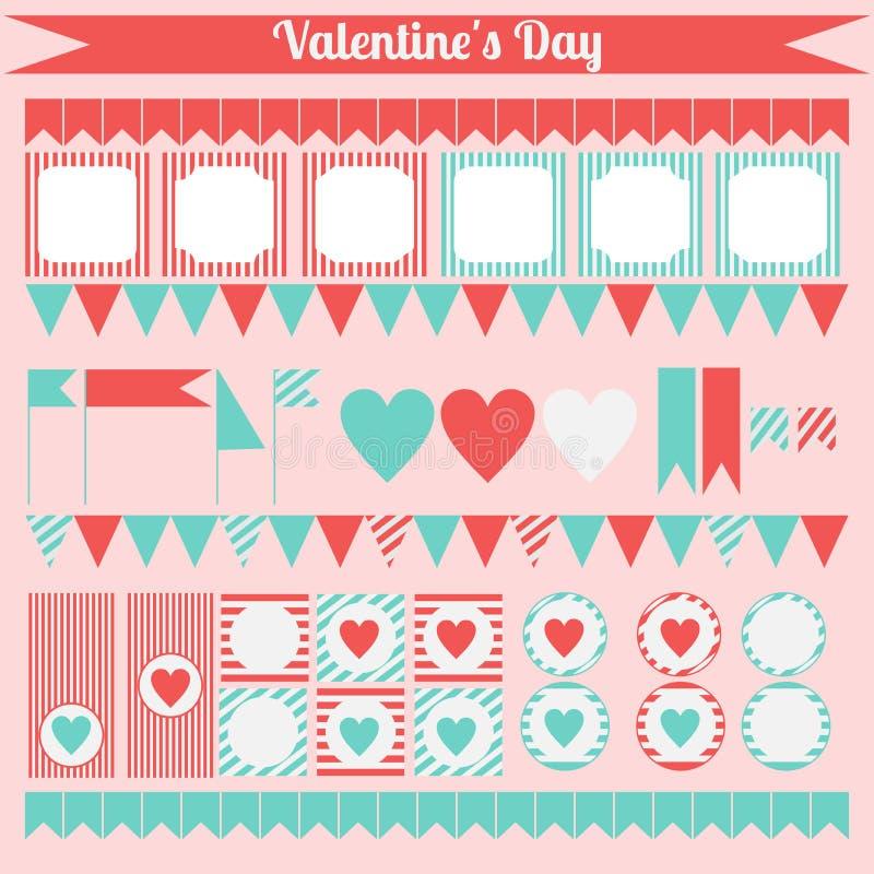 Printable комплект элементов партии валентинки Святого Счастливый комплект дня валентинок иллюстрация штока