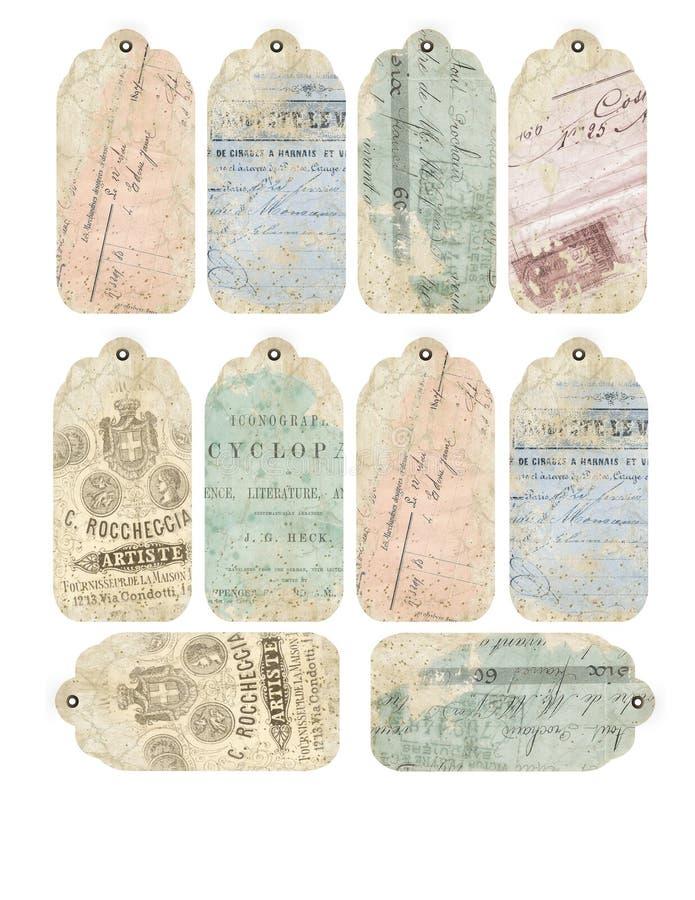 Printable лист бирки - винтажный Ephemera - огорченные текстуры - лист бирки коллажа иллюстрация вектора