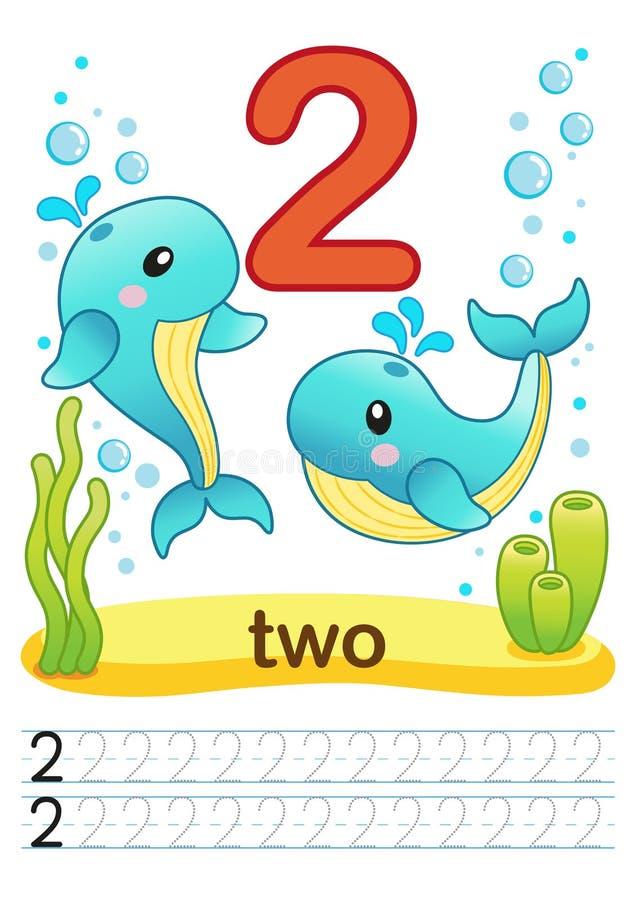 Printable рабочее лист для детского сада и preschool Мы тренируем для записи номеров Тренировки Mathe Яркие диаграммы на морском  иллюстрация вектора