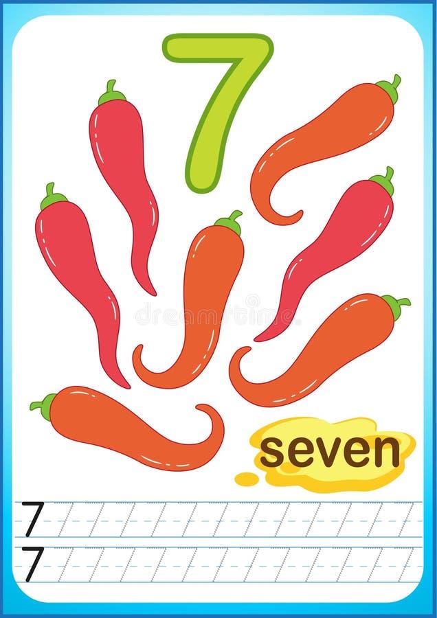 Printable рабочее лист для детского сада и preschool Тренировки для записи номеров Яркий Vegetable перец chili сбора, тыква, иллюстрация вектора
