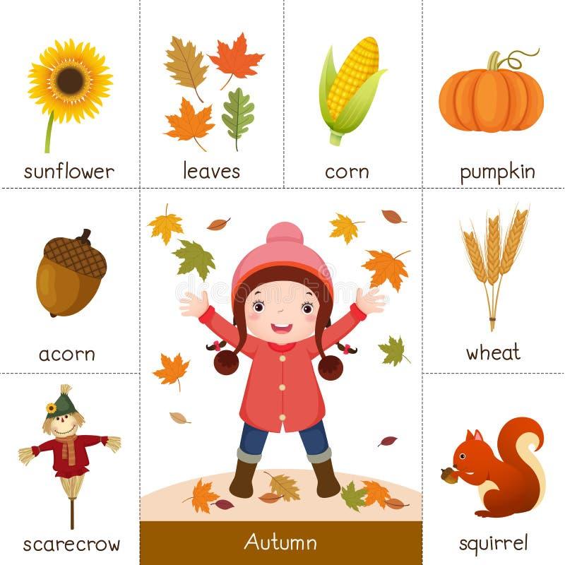 Printable флэш-карта на осень и маленькая девочка играя с aut бесплатная иллюстрация