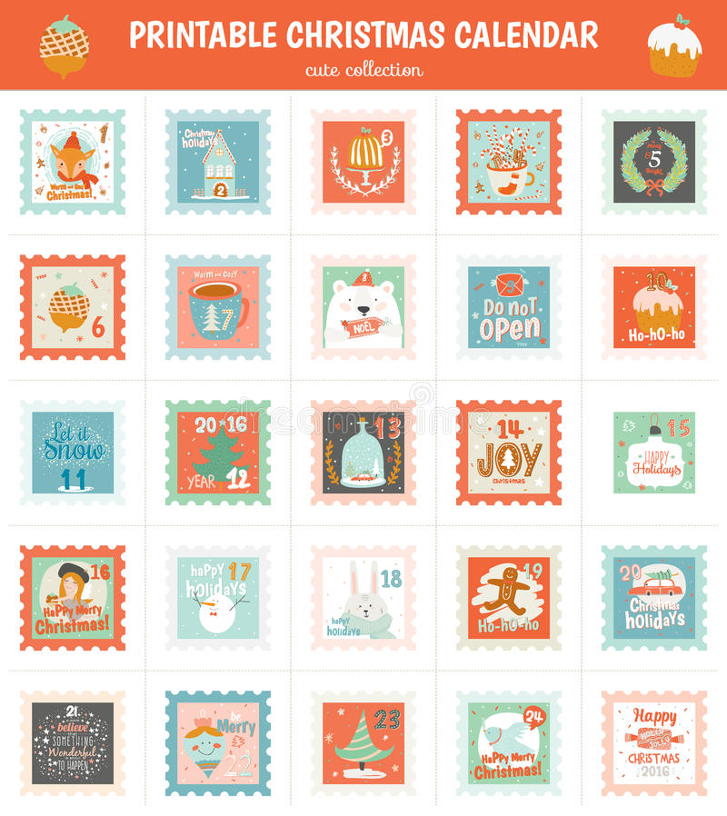 Blank Calendar Stamp : Printable advent calendar in vector stock