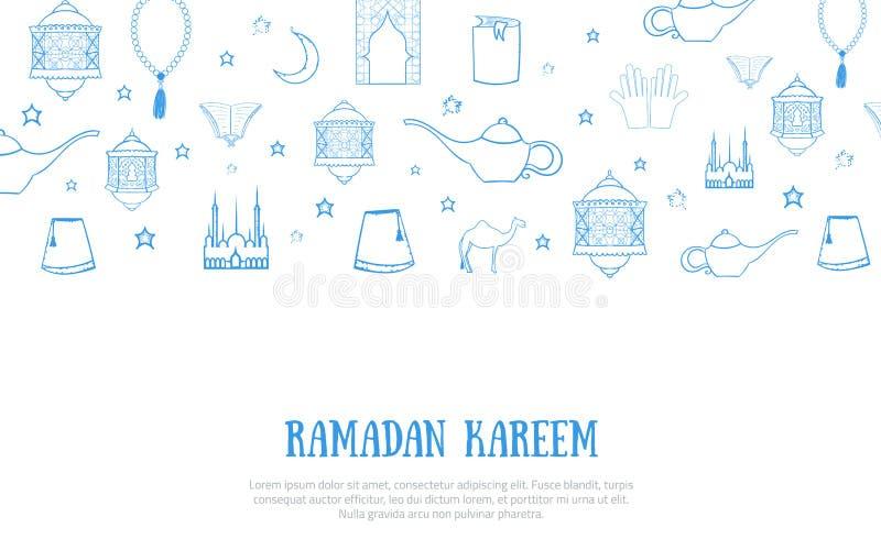 Printable błękitnego minimalistic Ramadan Kareem kartka z pozdrowieniami wektorowa ilustracja z nakreślenie lampionem, pałac, ksi ilustracja wektor