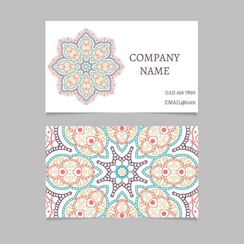 Printable Business Card With Hand Drawn Mandala Ornament Stock ...