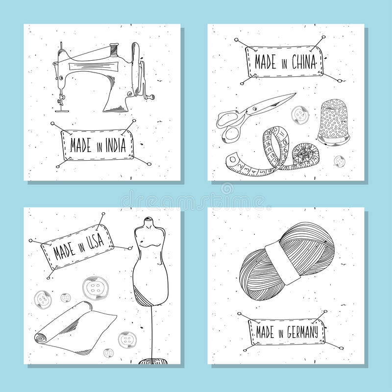 Printable Card In Retro Style Hand-drawn. Sewing Devices, Devices ...