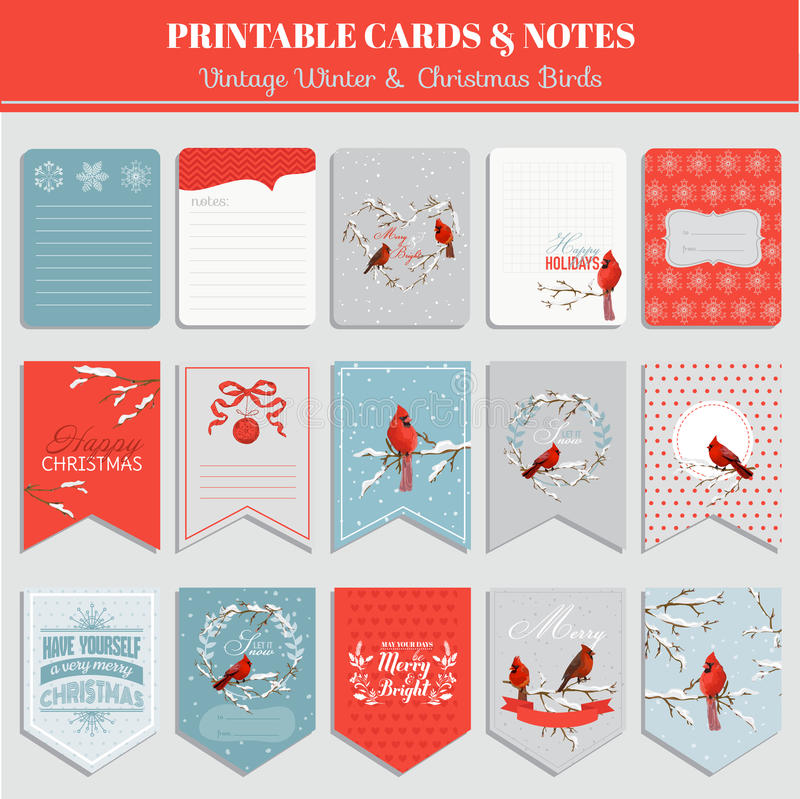 Printable Cards, Tags and Labels - Christmas Theme. Printable Cards, Tags and Labels - Christmas Winter Birds Theme - in vector stock illustration