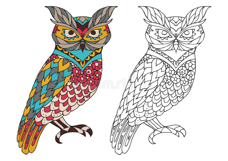 Printable coloring book page for adults - owl design, activity to older children and relax adult. vector with Islam. Printable coloring book page for adults royalty free illustration