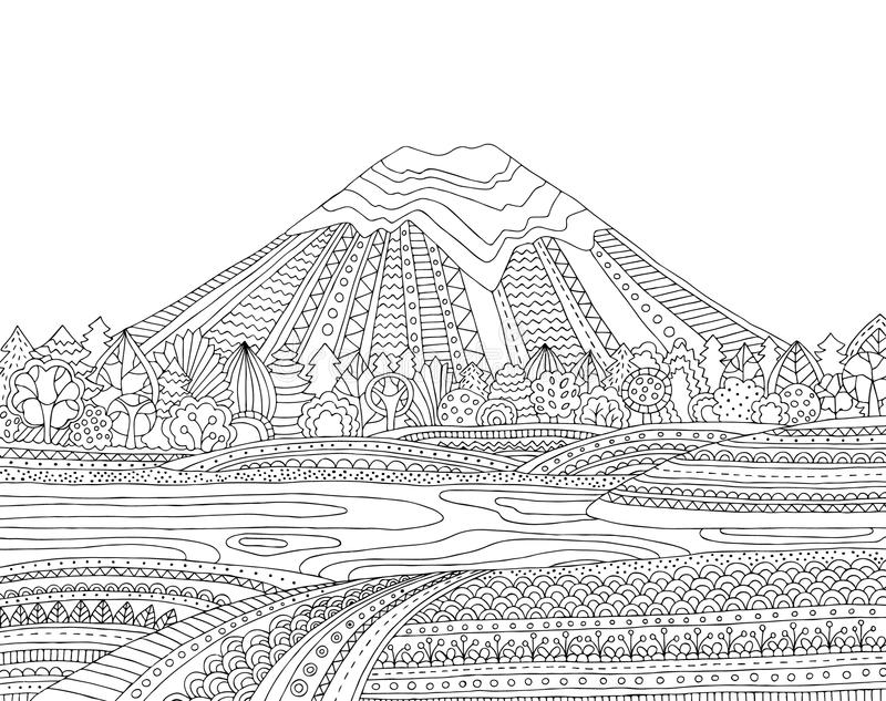 download printable coloring page for adults with mountain landscape lake flower meadow forest - Mountain Landscape Coloring Pages