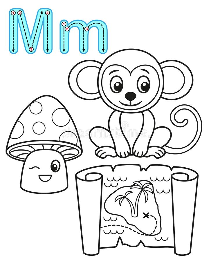 Printable coloring page for kindergarten and preschool. Card for study English. Vector coloring book alphabet. Letter M. mushroom. Map, monkey royalty free illustration