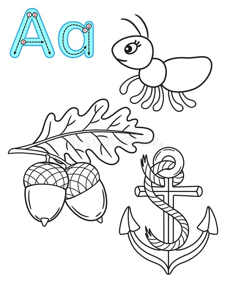 Printable coloring page for kindergarten and preschool. Card for study English. Vector coloring book alphabet. Letter A. Anchor,. Ant, Acorn royalty free illustration