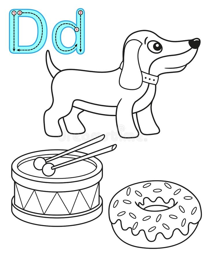 Printable coloring page for kindergarten and preschool. Card for study English. Vector coloring book alphabet. Letter D. dog, drum royalty free illustration