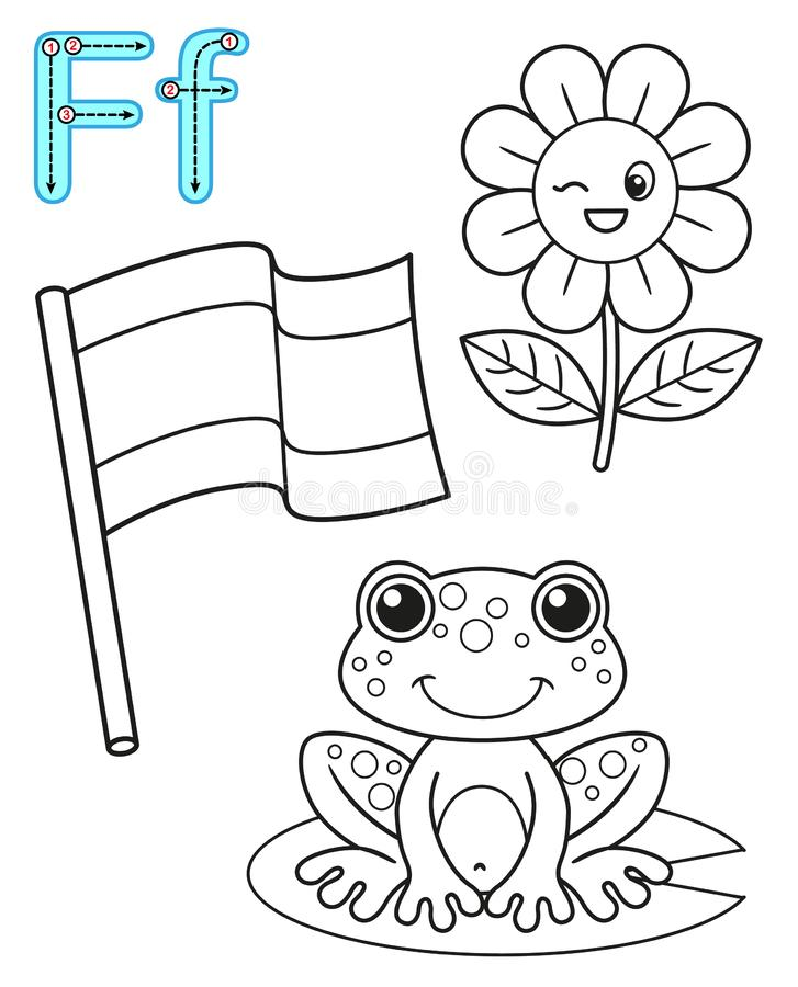 Printable coloring page for kindergarten and preschool. Card for study English. Vector coloring book alphabet. Letter F. flag, stock illustration