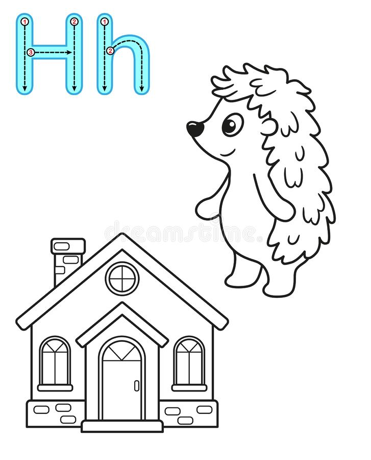 Printable coloring page for kindergarten and preschool. Card for study English. Vector coloring book alphabet. Letter H. hedgehog. House royalty free illustration