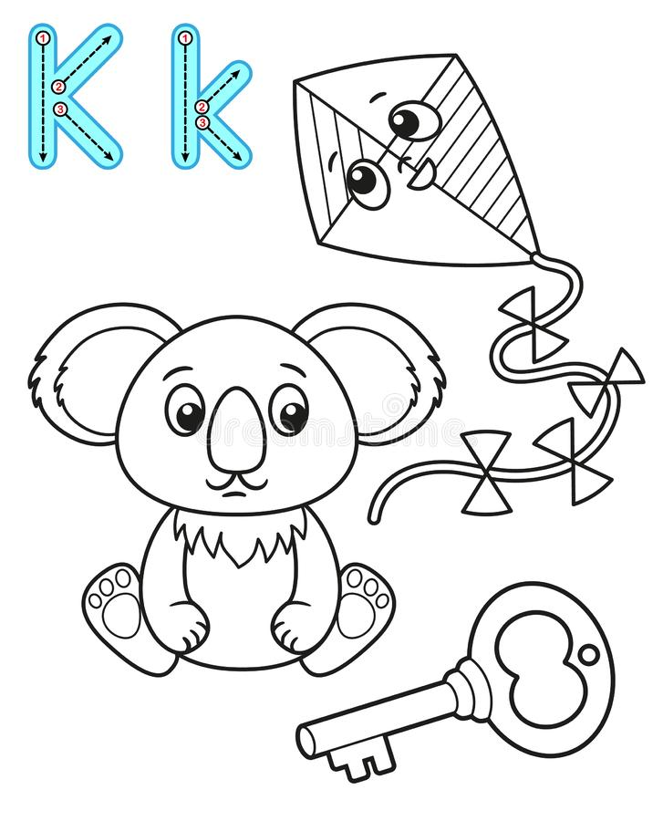 Printable coloring page for kindergarten and preschool. Card for study English. Vector coloring book alphabet. Letter K. key,. Koala, kite stock illustration