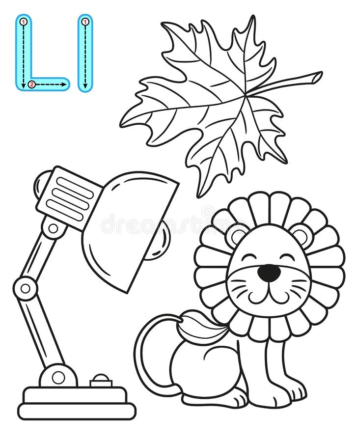 Printable coloring page for kindergarten and preschool. Card for study English. Vector coloring book alphabet. Letter L. leaf,. Lamp, lion royalty free illustration