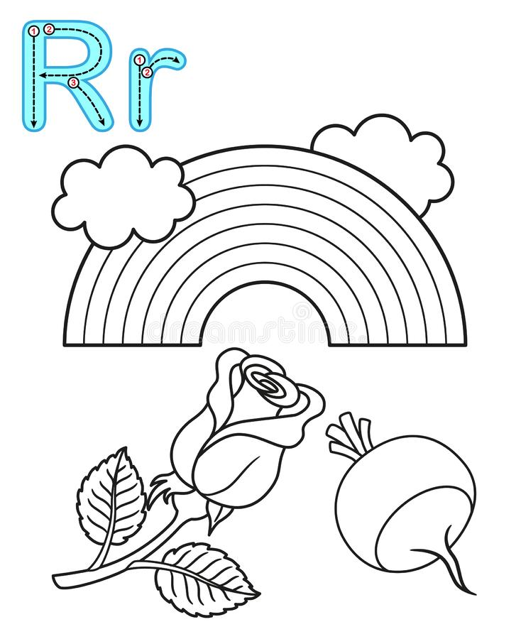 Printable coloring page for kindergarten and preschool. Card for study English. Vector coloring book alphabet. Letter R. rainbow,. Rose, radish stock illustration