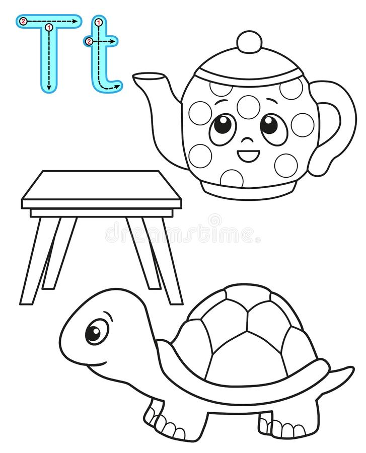 Printable coloring page for kindergarten and preschool. Card for study English. Vector coloring book alphabet. Letter T. table,. Tea, tea-pot stock illustration