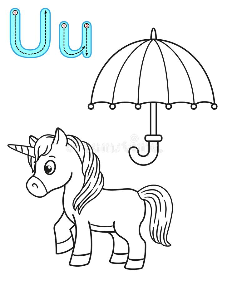Printable coloring page for kindergarten and preschool. Card for study English. Vector coloring book alphabet. Letter U. umbrella. Unicorn stock illustration