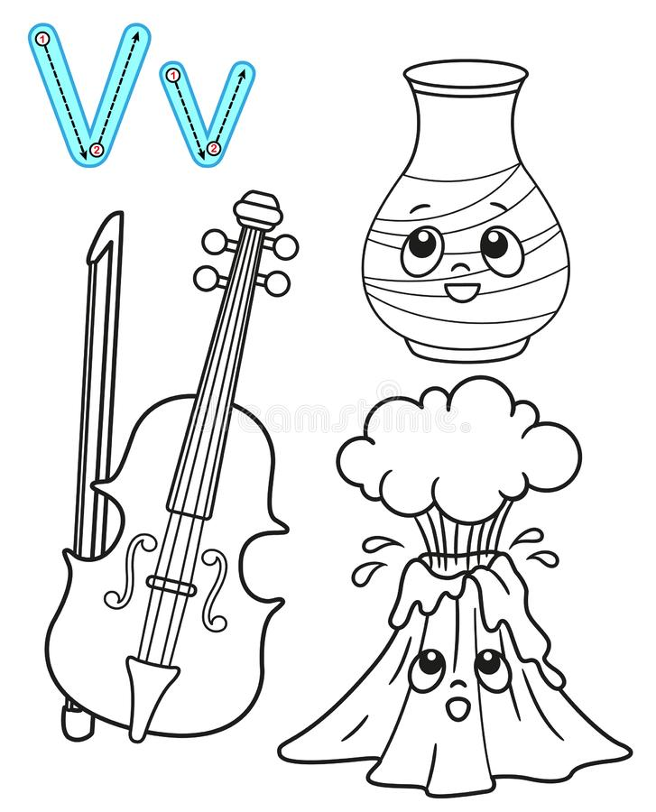 Printable coloring page for kindergarten and preschool. Card for study English. Vector coloring book alphabet. Letter V. vase,. Volcano, violin royalty free illustration