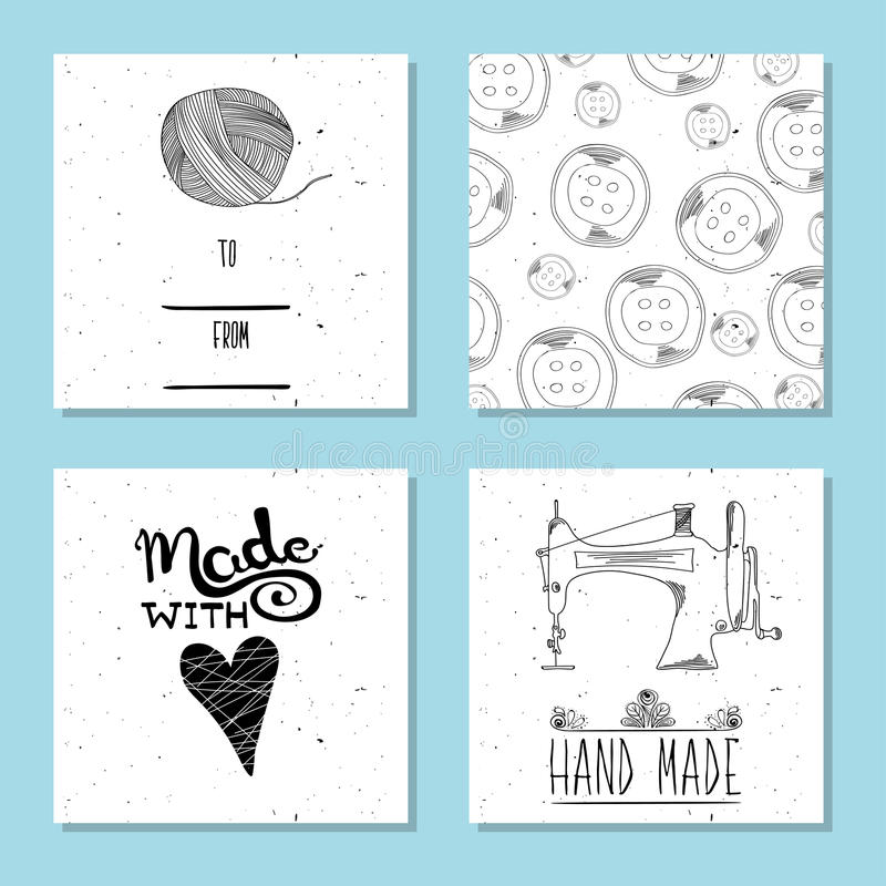 Printable cute cards for sites in the retro style of Hand-drawn. Sewing device and equipment for manufacturing and clothing and te. Xtiles. Hand-made. Vector royalty free illustration