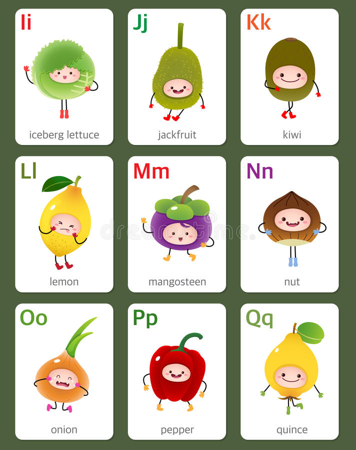 Printable flashcard English alphabet from I to Q with fruits and. Illustration of printable flashcard English alphabet from I to Q with fruits and vegetables royalty free illustration
