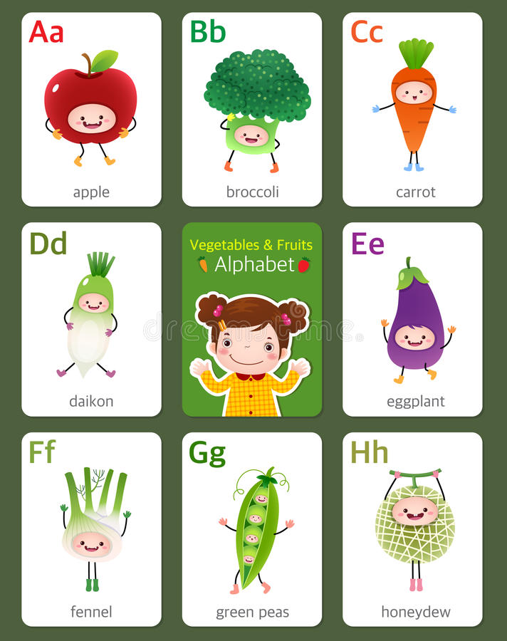 Printable flashcard English alphabet from A to H with fruits and. Illustration of printable flashcard English alphabet from A to H with fruits and vegetables vector illustration