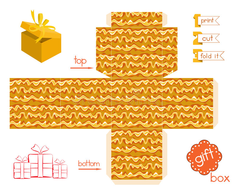 Printable Gift Box With Abstract Wavy Pattern royalty free illustration